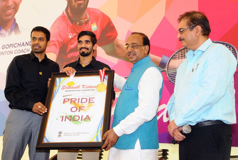 Sports Minister Goel felicitates Srikanth