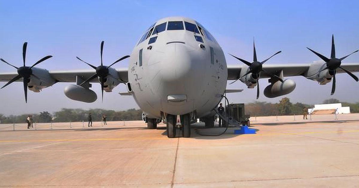Indian Air Force C 130j Super Hercules Aircraft Lands At